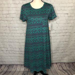 NWT LuLaRoe Carly dress green/purple tribal design